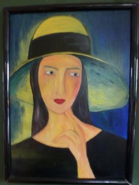 Dame mit Hut, Acryl auf Leinwand, 70X50
