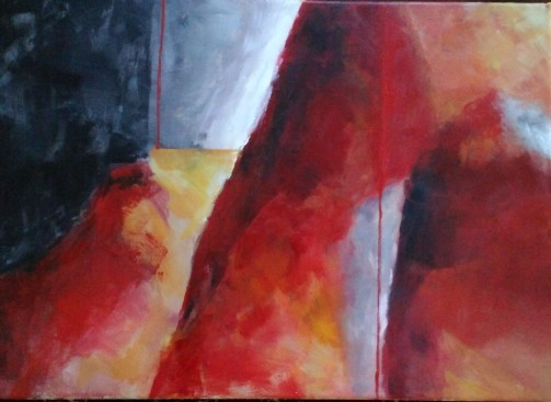 Felsen rot, Acryl auf Leinwand, 50X70