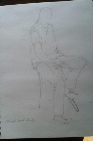 Mann sitzend: schnell